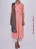 Abstract print Stole & Resham, Cone Tassel & Mother-of-Pearl Buttons Work Kurti