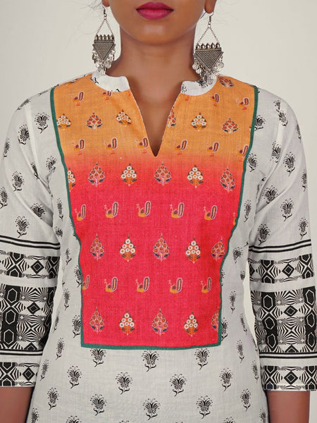 Multi Coloured Peacock & Floral Print Yoke Cut Cotton Kurti