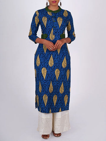 Contrast Tabs With Ethnic Print Cotton Kurti