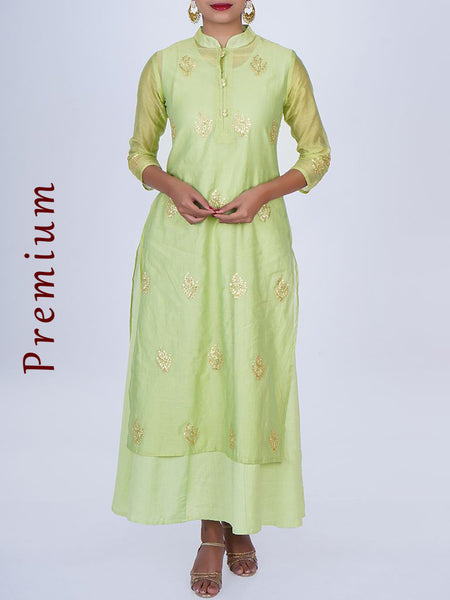 Zari Buti & Shimmer Potli Buttoned Chanderi Jacket & Cotton Anarkali - Pastel Lime Green