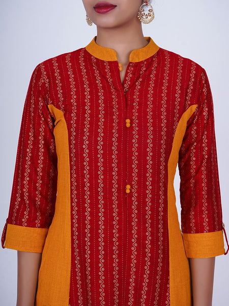 Golden Polka Dotted Floral Print Panelled Cotton Handloom Kurti - Turmeric Yellow