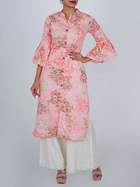 Pleated Frill Sleeves Rose Print Cotton-Satin Kurti - Baby Pink