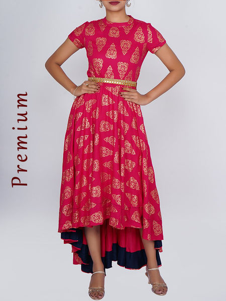Resham & Foil Mirror Work Belt With Golden Printed Asymmetric Kurti - Magenta