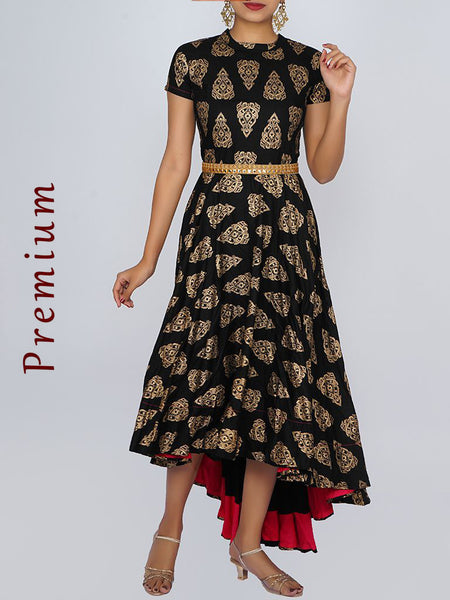 Resham & Foil Mirror Work Belt With Golden Printed Asymmetric Kurti - Black