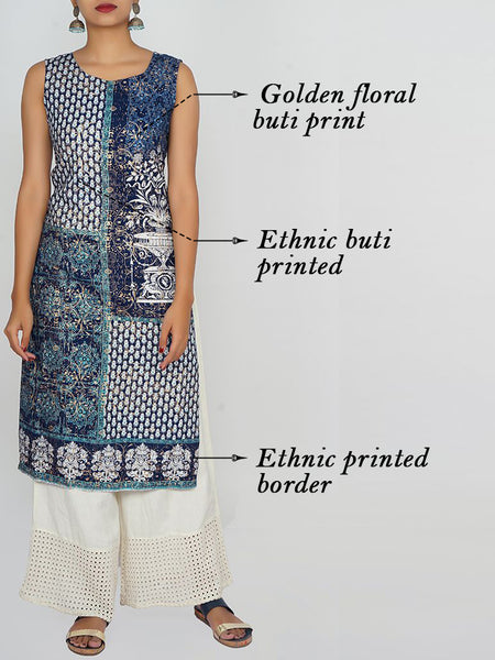 Ethnic & Golden Floral Printed Cotton Kurti