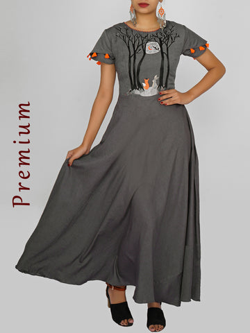 Resham Moon Light Night Forest Work & Cone Tasselled Cotton Kurti