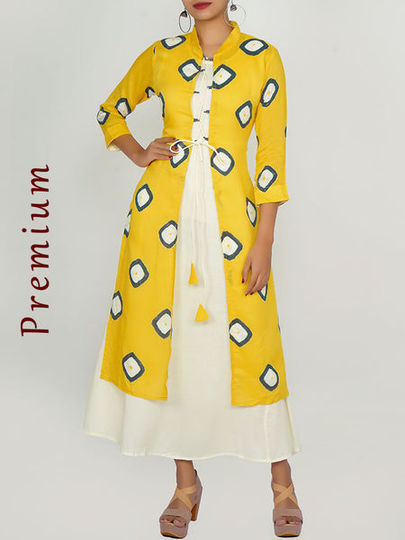 Cone Tasselled Criss-Cross Tie-up Printed Jacket & Kurti