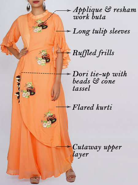 Applique & Resham Work Tulip Sleeves Cutaway Layered Kurti