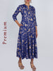 Mirror & Resham Work Floral Pigment Printed Cotton Anarkali Kurti - German Blue