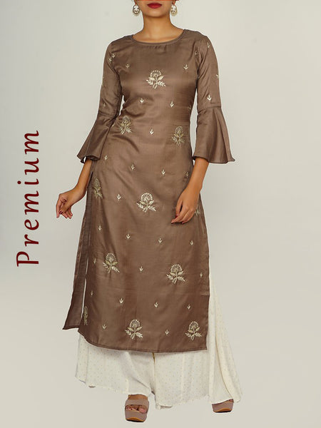 Zari, Sequins & Cut-dana Work Frill Sleeves Cotton-Silk Satin Kurti - Ivory Brown