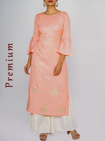Zari, Beads & Dabka Work Frill Sleeves Cotton-Silk Satin Kurti - Peach Pink