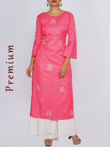 Zari, Sequins & Cut-dana Work Frill Sleeves Cotton-Silk Satin Kurti - Neon Pink