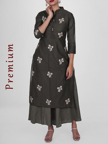 Floral Foil, Zari & Sequins Work Chanderi Jacket & Cotton Anarkali - Dark Grey