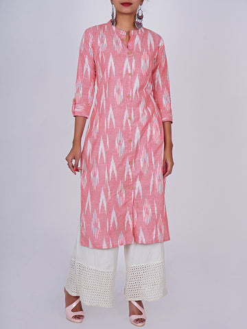 Wooden Buttoned Woven Ikkat Print Cotton Handloom Kurti - Amaranth Pink