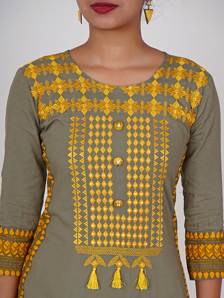 Crystal Studded Button & Resham With Foil Mirror Work Kurti - Grey