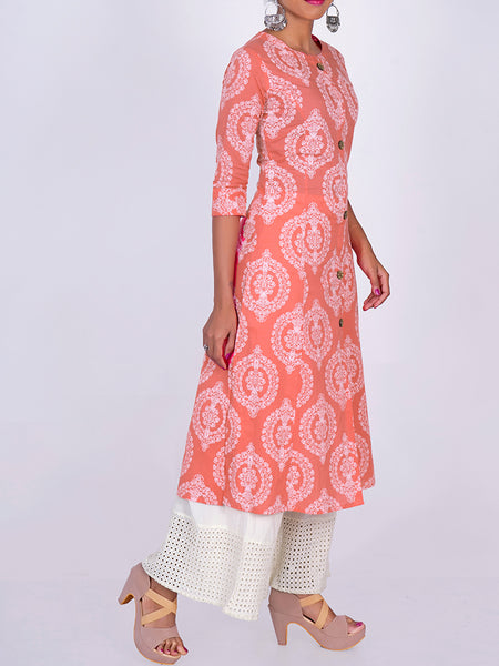 Wooden Buttoned Floral Ethnic Print Kurti Style - Peach & White