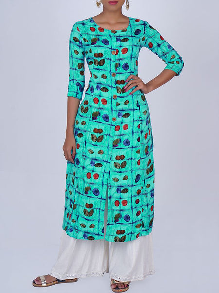 Metal Rimmed Wooden Buttoned Abstract Leaf Print Kurti