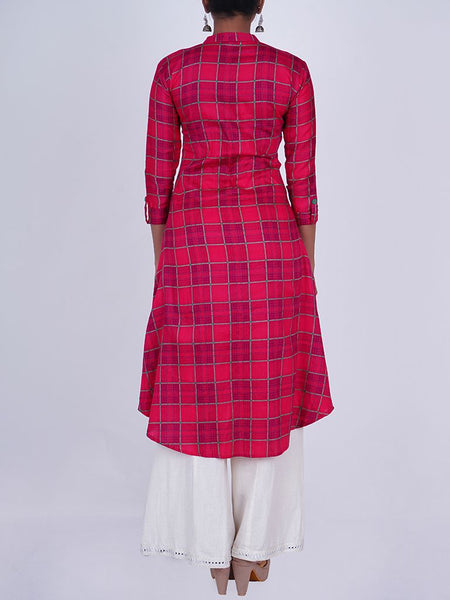 Contrast Buttoned Chequered Print Cotton-Satin Kurti