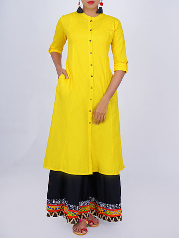Contrast Buttoned Princess Paneled Cotton-Handloom Kurti - Spectra Yellow