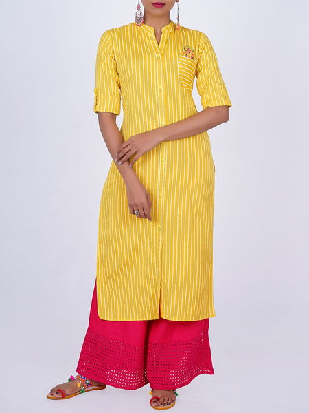 Resham Work Floral Buta & Patch Pocketed Striped Cotton Kurti - Yellow