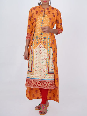 Rustic Chaand Brooch With Floral Print Double Layered Kurti