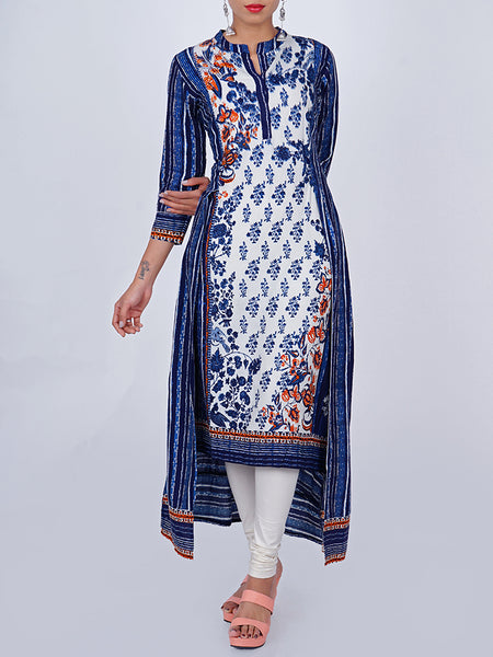 Floral Printed & Textured Stripes Printed Jacket Style Layered Kurti