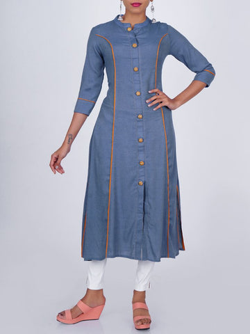 Resham & Zari Work Buttons Studded Paneled Kurti