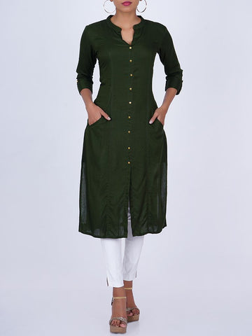Metal Buttoned Princess Paneled Slash Pocket Kurti