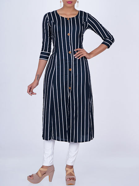 Metal Rimmed Wooden Buttons Studded Stripes Kurti