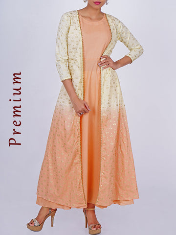 Golden Pearl Beading Lace & Khadi Printed Jacket With Cotton Kurti
