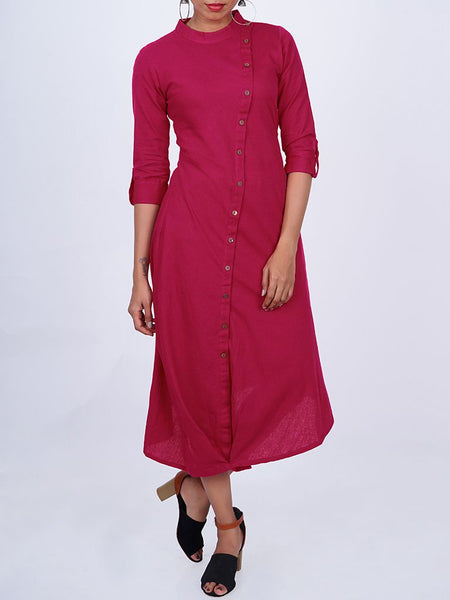 Wooden Buttoned Asymmetric Placket With Tucked Hem Cotton Kurti - Magenta