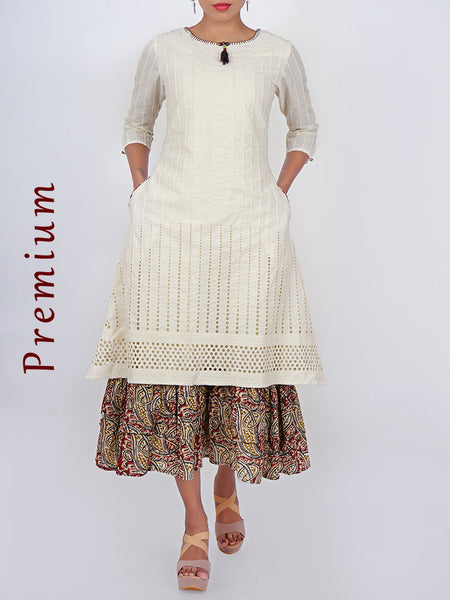 Hakoba Cutwork & Kalamkari Printed Double Layered Cotton Kurti - White