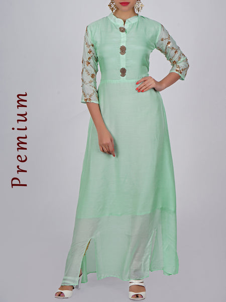Zardosi Embroidered Floral Baile Viscose Crepe Kurti - Mint Green
