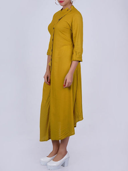 Cycle Brooch Studded Asymmetric Placket & Hemline Kurti