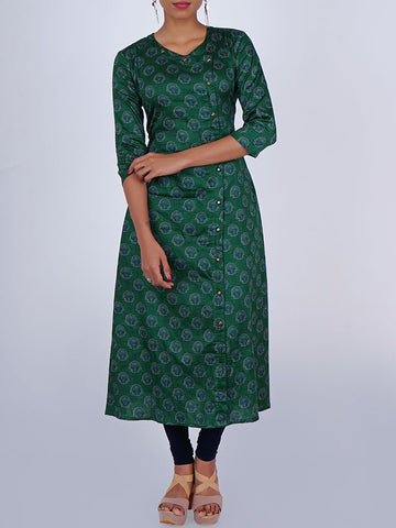 Rustic Buttoned Overlapping Cotton-Satin Kurti
