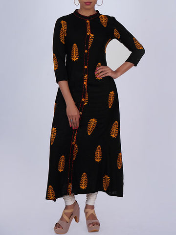 Resham Running Stitch & Sequins Work Printed Kurti