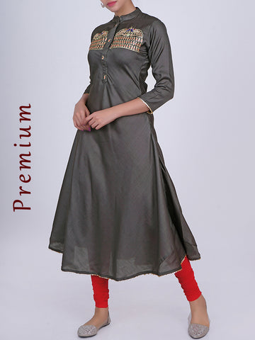 Golden Thread Peacock Zari Work Kurti