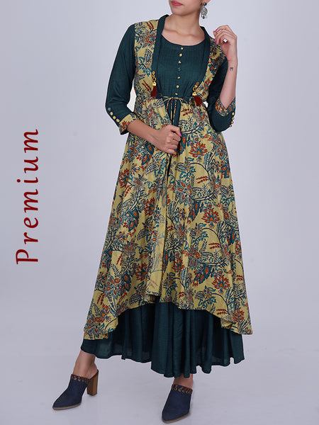 Pleated Cotton Kurti with Floral Print Flared Jacket