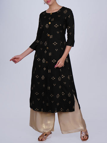 Floral Buttoned Floral Printed Cotton Kurti - Black
