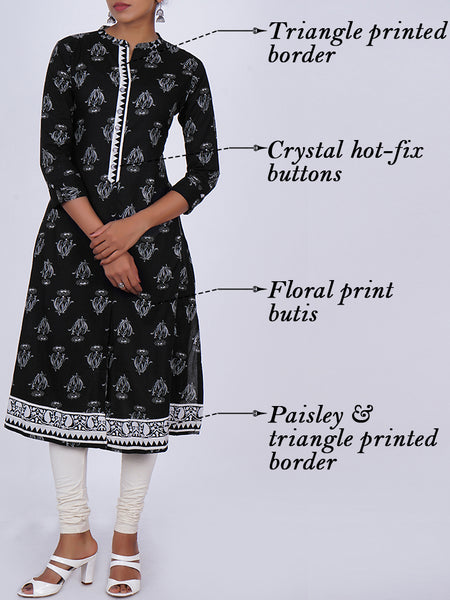 Crystal Hot-fix Studded Buttons With Floral Printed Cotton Kurti