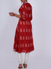 Mother-Pearl Buttoned & Crochet Lace Work Printed Cotton Kurti