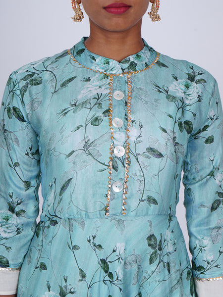 Gota Temple Border & Mother-Pearl Buttoned Digital Style Floral Kurti