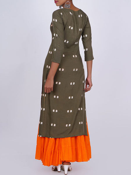 Resham Work Shell Buttoned & Tasseled Square Buti Printed Kurti - Olive Brown