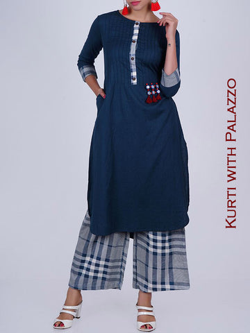 Resham, Foil Mirror Work Tasseled Cotton Kurti & Gamchha Checks Palazzo Set