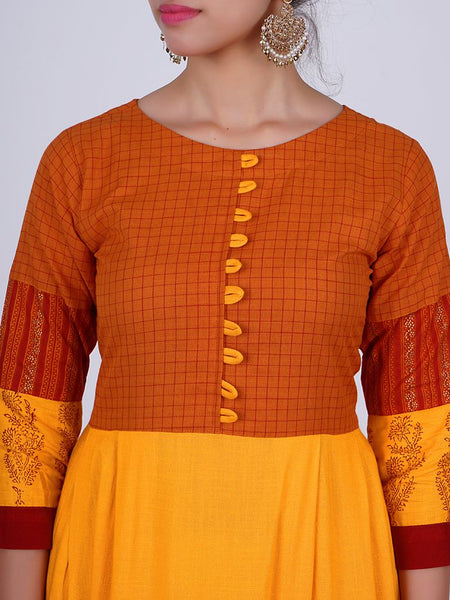Paisley & Floral Block Printed Pleated Kurti