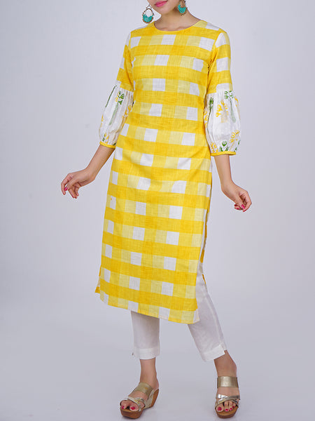 Floral Printed Stylised Bishop Sleeves With Chequered Print Cotton Kurti