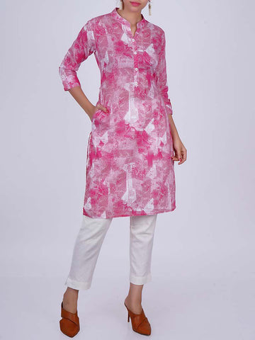 Textured Abstract Rose Print Buttoned Cotton Kurti - Pink