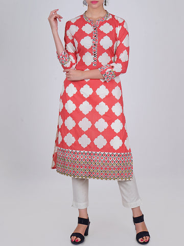 Rustic Metal Buttoned Ethnic Architectural Tile Print Cotton Kurti