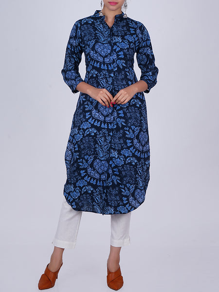 Floral Jaal Printed Pleated Cuff Sleeved Cotton Kurti