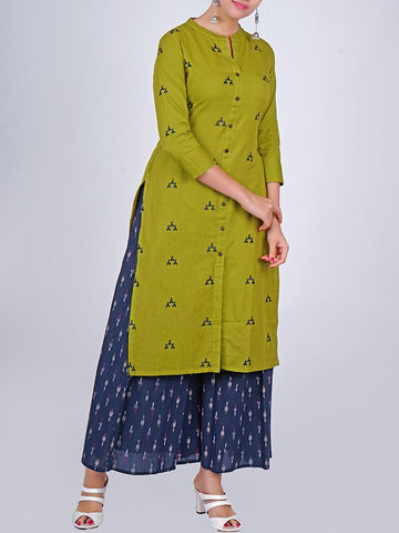 Geometric Resham Work Coconut Shell Buttoned Slub-Cotton Kurti